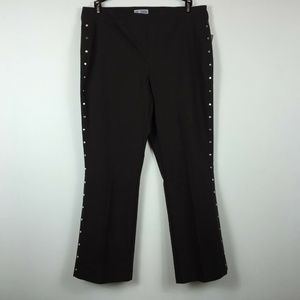 JM Collection PXL Brown Studded Pants 3AG81